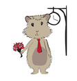 hamster with flowers vector image