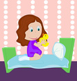 Cartoon little girl dressed in socks plays with a vector image