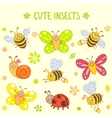 cute insects set vector image