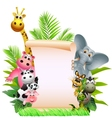 funny animal cartoon with blank sign vector image