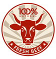 Label with the head of a cow vector image