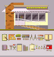 Shop and set of cute colorful stationery vector image