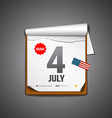 july 4 calendar independence day vector image vector image