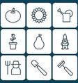set of 9 plant icons includes rake shovel dwarf vector image