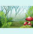 Forest scene with fog on the grass vector image