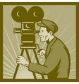 Vintage movie television film camera director vector image vector image
