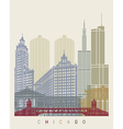 Chicago skyline poster vector image
