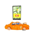Smartphone Evacuation App And Crushed Car vector image