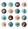 music flat icons vector image