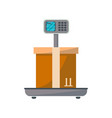 Packing box on scales icon vector image
