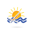 sun icon with beach chair color vector image