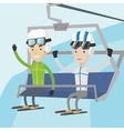 Two happy skiers using cableway at ski resort vector image