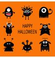 Happy Halloween card Black monster set Cute vector image