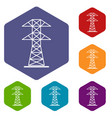 high voltage tower icons set hexagon vector image