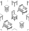 seamless pattern with line drawn isometric chairs vector image