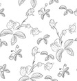 Hand-drawn flower seamless pattern vector image