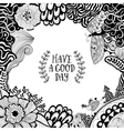 Invitation card with a floral doodle frame vector image