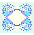 decorative aquatic blue frame with wave vector image