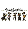 dia de los muertos the skeleton in mexican vector image