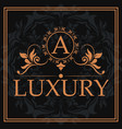 luxury monogram letter a crest abstract element vector image