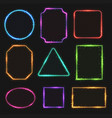 multicolored neon border frames simple vector image