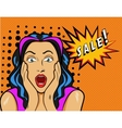 Woman with Sale sign in pop vector image