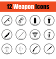 Set of twelve weapon icons vector image vector image
