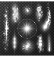 Silver gray sparkling light trails and glitter vector image