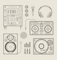 DJ icons vector image