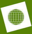earth globe sign  white icon obtained as a vector image