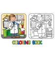 engineer coloring book profession abc series vector image