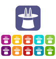 Rabbit ears appearing from a top magic hat icons vector image