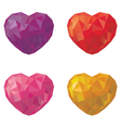 Set of multicolored hearts in low poly style vector image vector image