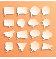 Blank empty white speech bubbles set with shadows vector image