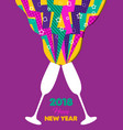 happy new year 2018 retro color party toast splash vector image