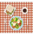 salad coffee sandwich plates fork knife vector image