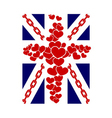 British flag t shirt typography graphics hearts vector image