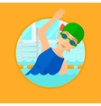 Woman swimming in pool vector image
