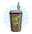 Color vintage coffee emblem vector image