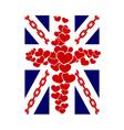 British flag t shirt typography graphics hearts vector image