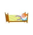 funny little boy sleeping tight asleep in his bed vector image