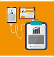 mobile device connected contract business profile vector image