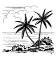palms and the sea sketch vector image
