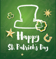 st patricks day card with golden stars and clover vector image