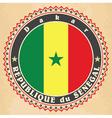 Vintage label cards of Senegal flag vector image