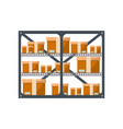 Warehouse stand with delivery boxes icon vector image