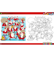christmas group coloring page vector image vector image