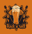 banner with wooden keg beer glass and guitars vector image vector image