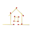 House Symbol Made from Matches vector image vector image