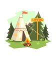 Camping Place With Bonfire Wigwam And Forest vector image